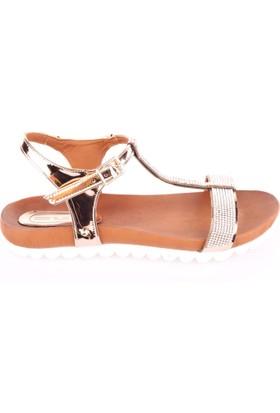Dgn 351 Kadın T Bant Taşlı Sandalet