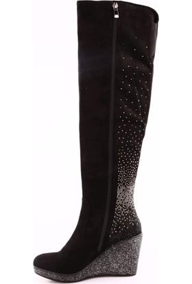 Guja 17K1036 Kadın Dolgu Topuk Taşlı Thigh High Stretch Çizme