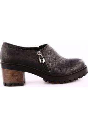 Park Moda K203 Kadın Kalın Topuk Fermuarlı Oxford Ayakkabı