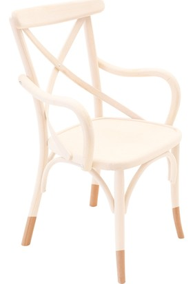 Kollu Thonet Sandalye Beyaz&Natural