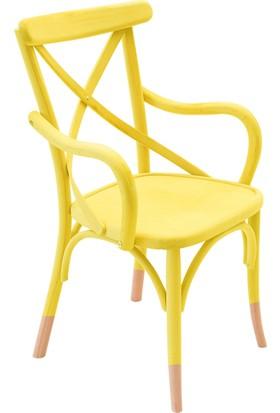 Kollu Thonet Sandalye Sarı&Natural