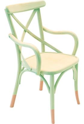 Kollu Thonet Sandalye Yeşil&Natural