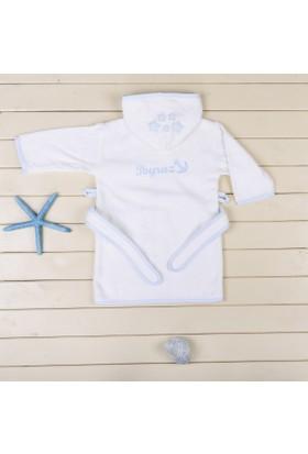MirDesign Denizci Temalı İsme Özek Erkek Bebek Bornozu