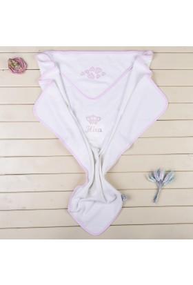 MirDesign Taçlı İsme Özel Kız Bebek Kundak Havlu