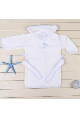 MirDesign Uçaklı İsme Özel Erkek Bebek Bornozu