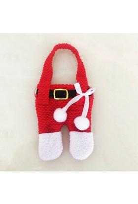 Noel Baba Kostümlü 6 Parçalı Çatal Bıçaklık & Peçetelik Seti