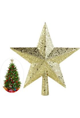 Yılbaşı Altın Simli Yıldız Ağaç Tepeliği 14 cm