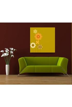 Evdeka Flat Çiçekler Tasarımlı Kanvas Tablo