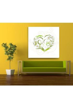 Evdeka Papatyalı Kalp Desenli Kanvas Tablo
