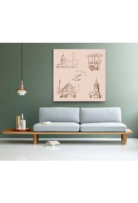 Evdeka İstanbulun Kompozisyonu Çizimli Kanvas Tablo