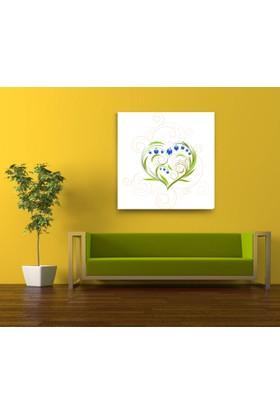 Evdeka Çiçekli Kalp Desenli Kanvas Tablo