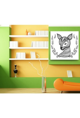 Evdeka Yapraklı Ceylan Desenli Çocuk Kanvas Tablo