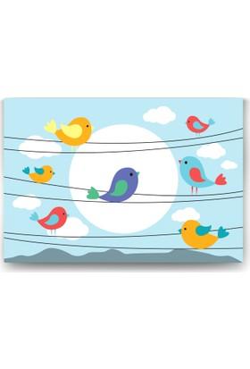 Evdeka Teldeki Kuş Desenli Çocuk Kanvas Tablo