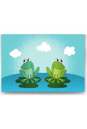 Evdeka Renkli Kurbağalar Desenli Çocuk Kanvas Tablo