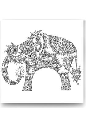 Evdeka Fil Desenli Mandala Kanvas Tablo