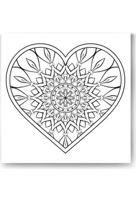 Evdeka Kalp-6 Desenli Mandala Kanvas Tablo