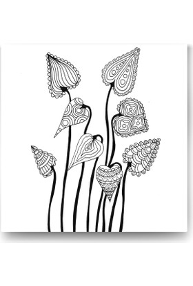 Evdeka Yaprak-1 Desenli Mandala Kanvas Tablo
