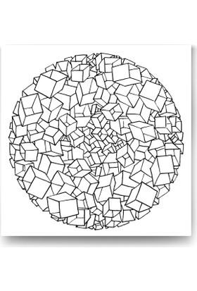 Evdeka Kutular Desenli Mandala Kanvas Tablo