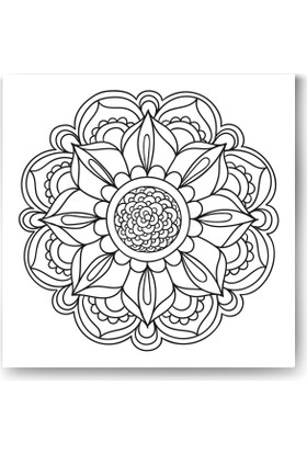 Evdeka Çiçek-11 Desenli Mandala Kanvas Tablo