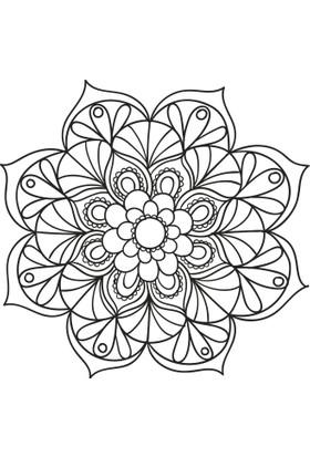 Evdeka Çiçek-12 Desenli Mandala Kanvas Tablo