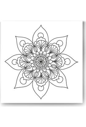 Evdeka Çiçek-19 Desenli Mandala Kanvas Tablo