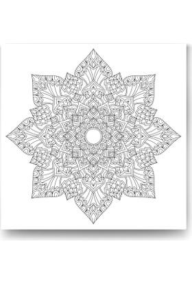 Evdeka Çiçek-26 Desenli Mandala Kanvas Tablo