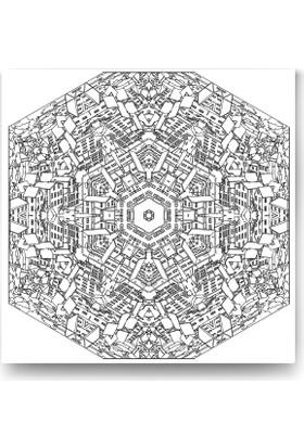 Evdeka Kalabalık Şehir Desenli Mandala Kanvas Tablo