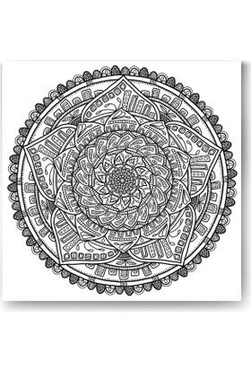 Evdeka Sarmal Yapraklar Desenli Mandala Kanvas Tablo