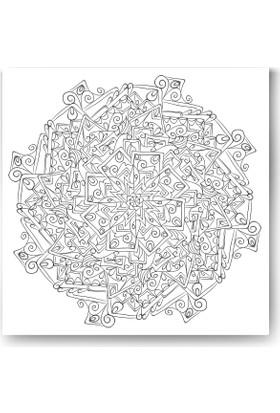 Evdeka Çiçekli Sutünlar Desenli Mandala Kanvas Tablo