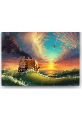 Evdeka Kağıttan Gemi Tasarımlı Kanvas Tablo