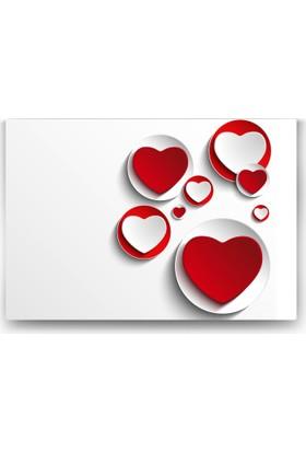 Evdeka Kalp Temalı Kanvas Tablo