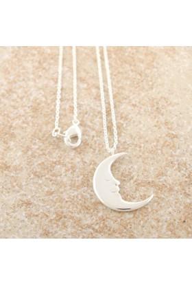 Yarım Ay Gümüş Kaplama Kolye