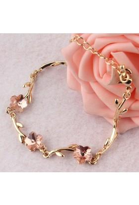 Rosegold Kristal Çiçek Dalı Bayan Bilezik