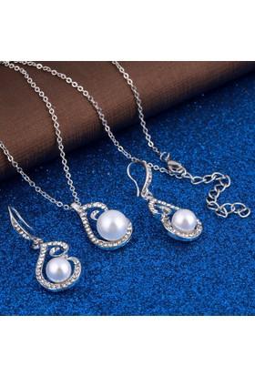 Gümüş Kaplama Beyaz Simüle İnci Romantik Tasarım Bayan Takı Seti