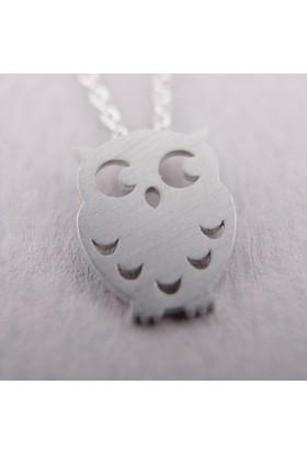 Baykuş Gümüş Kaplama Kolye