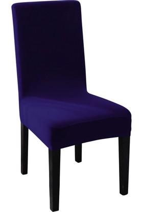 Sweat Likralı Sandalye Kılıfı Her Sandalyeye Uygun Yıkanabilir Sandalye Örtüsü Mor