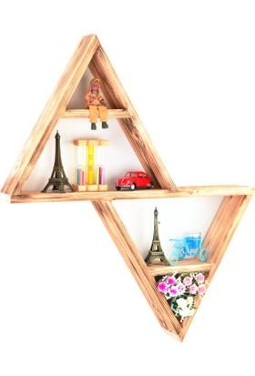 Dekorizi Pyramid Dekoratif El Yapımı Doğal Ahşap Raf