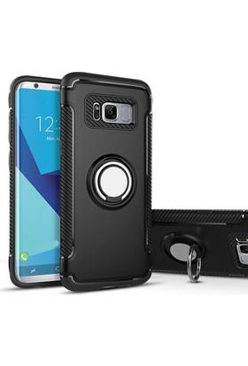 Case 4U Samsung Galaxy Note 8 Kılıf Yüzüklü Darbeye Dayanıklı Siyah (Mıknatıslı Araç Tutucu Uyumlu)