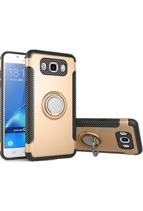 Case 4U Samsung Galaxy J5 Prime Kılıf Yüzüklü Darbeye Dayanıklı Altın (Mıknatıslı Araç Tutucu Uyumlu)