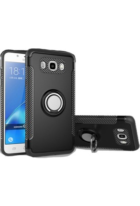 Case 4U Samsung Galaxy J710 J7 2016 Kılıf Yüzüklü Darbeye Dayanıklı Siyah (Mıknatıslı Araç Tutucu Uyumlu)