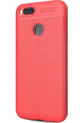 Kny Xiaomi Mi5X Kılıf Deri Göünümlü Lux Niss Silikon+ Cam