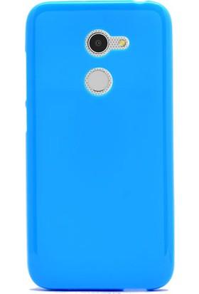 Gpack Alcatel İdol A3 Kılıf Süper Silikon Kılıf Turkuaz + Cam