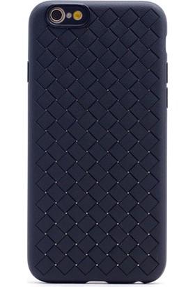 Gpack Apple iPhone 6-6S Plus Kılıf Örgülü Cross Silikon Kılıf Siyah