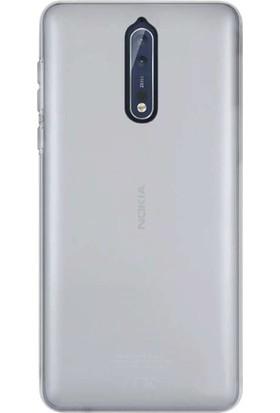 Gpack Nokia 8 Kılıf 02 mm İnce Silikon Kılıf Şeffaf + Cam