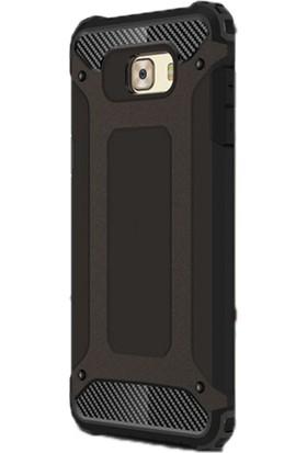 Gpack Samsung Galaxy C7 Pro Kılıf Sert Çift Katmanlı Crash Kılıf Siyah + Cam