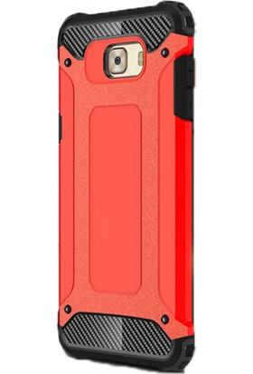 Gpack Samsung Galaxy C7 Pro Kılıf Sert Çift Katmanlı Crash Kılıf Kırmızı + Cam + Kalem