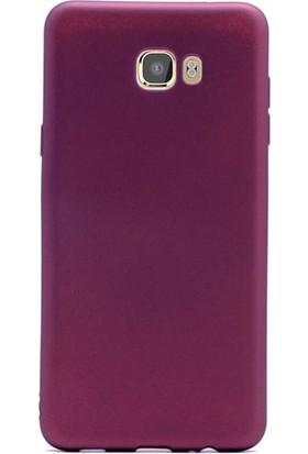 Gpack Samsung Galaxy C5 Pro Kılıf Premier Silikon Kılıf Mor + Cam