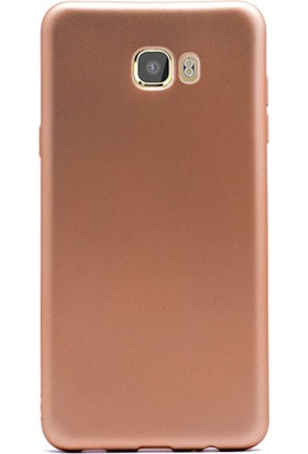 Gpack Samsung Galaxy C7 Pro Kılıf Premier Silikon Kılıf Gold + Cam