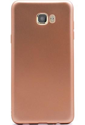 Gpack Samsung Galaxy C7 Pro Kılıf Premier Silikon Kılıf Gold + Cam + Kalem