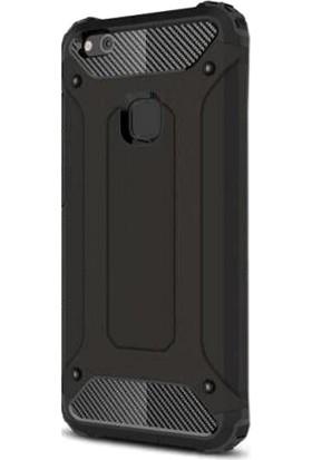 Gpack Huawei P10 Kılıf Darbe Emici Sert Crash Case Siyah + Cam